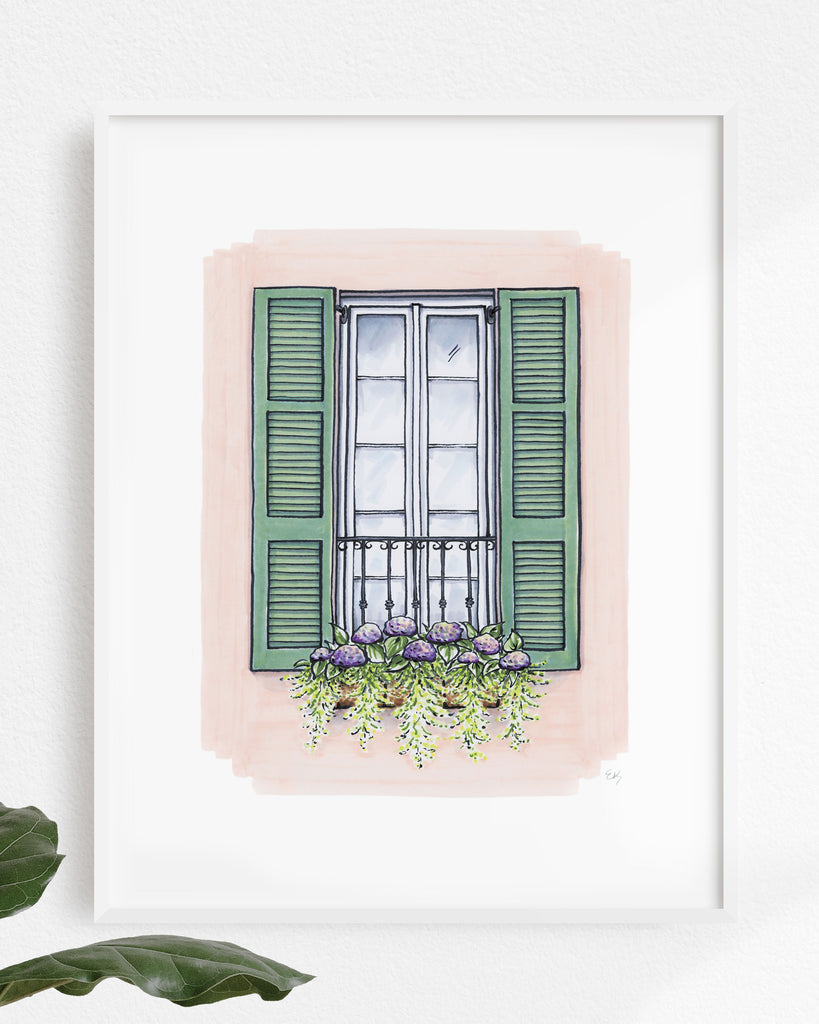 Flower Box Print of Pink House with Green Shutters