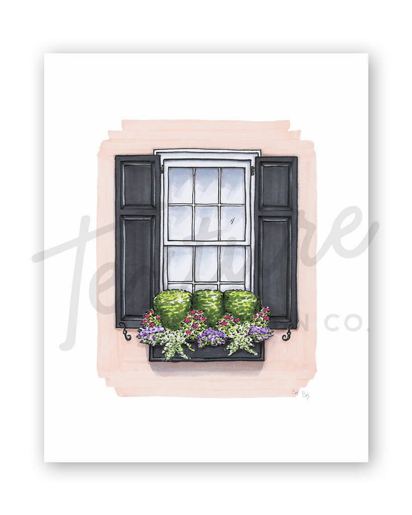 Flower Box Print of Light Coral House with Boxwoods