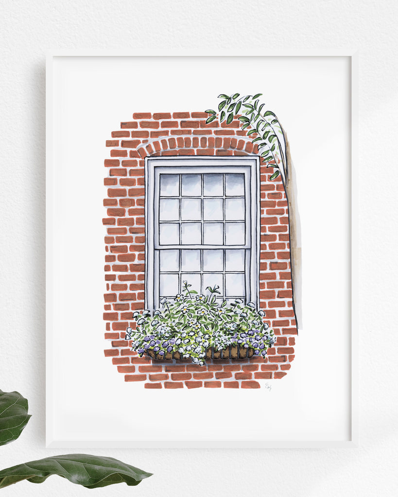 Flower Box Print of Red Brick House with Tree