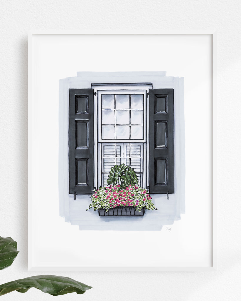 Flower Box Print of Light Grey House with Metal Flower Box