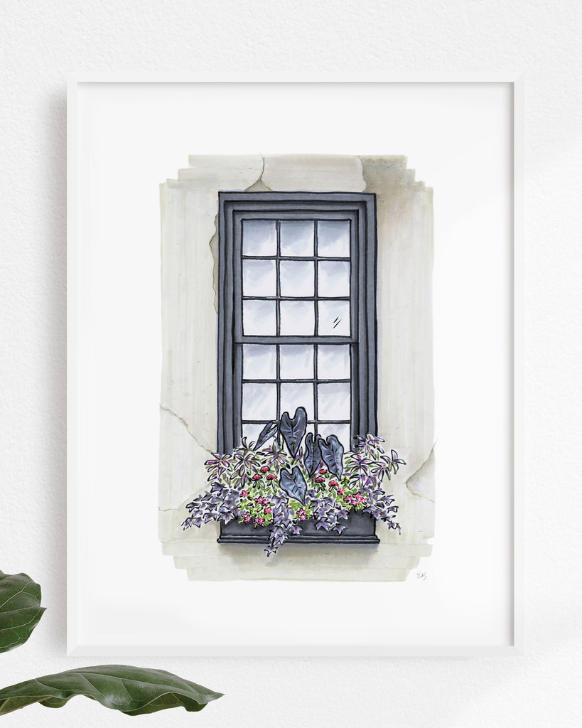 Flower Box Print of Greige House with Purple Foliage