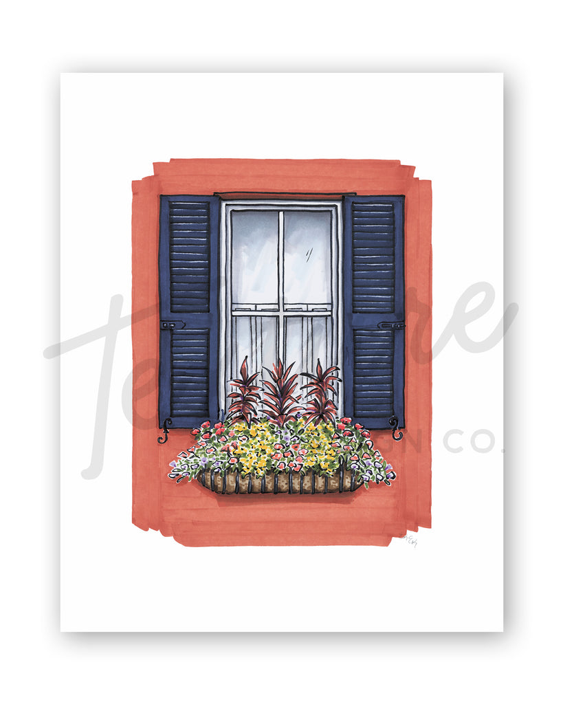 Flower Box Print of Red House with Navy Shutters