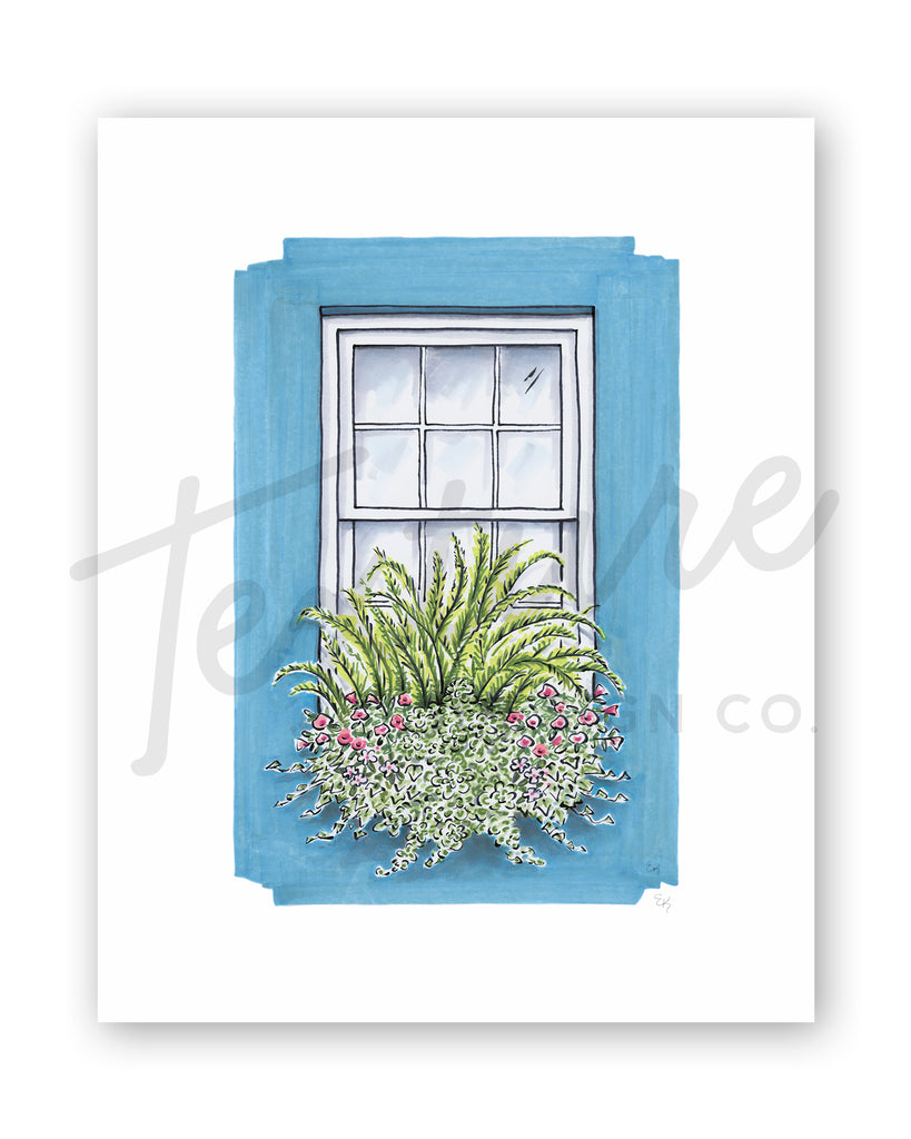 Flower Box Print of Turquoise House with Ferns