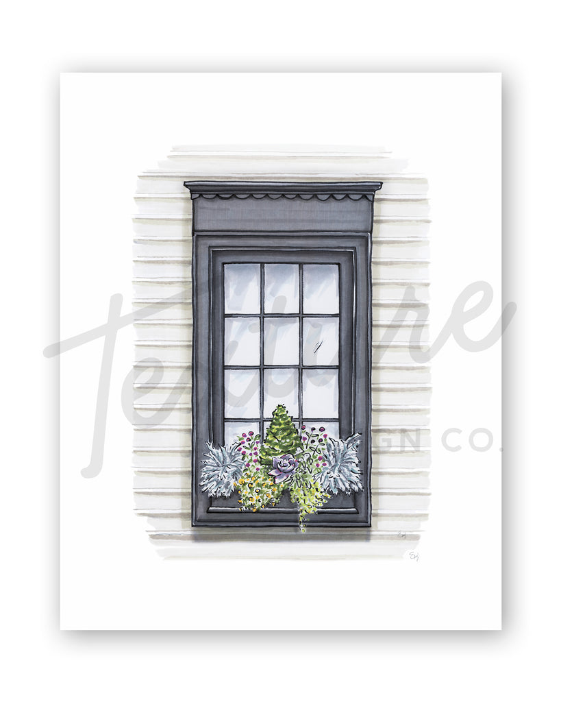 Flower Box Print of Greige House with Scallop Trim