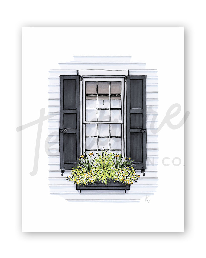 Flower Box Print of White House with Yellow Daylilies