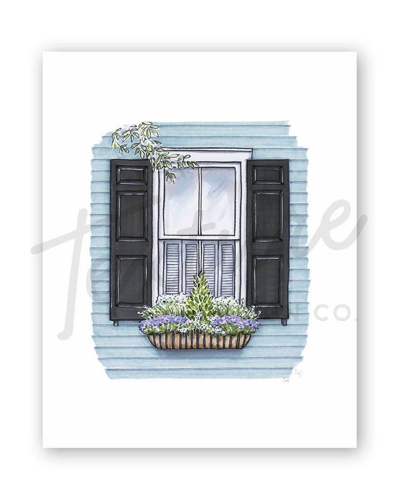 Flower Box Print of Blue House with Purple Flowers