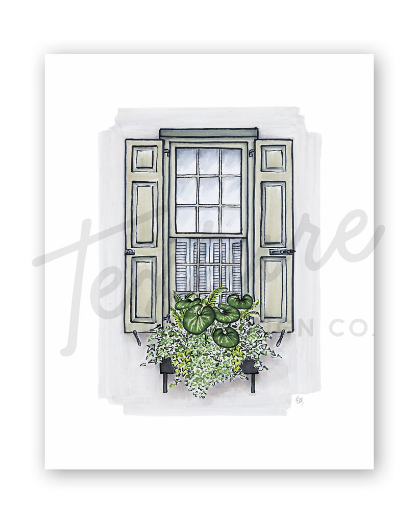 Flower Box Print of Grey House with Tractor Seat Plants