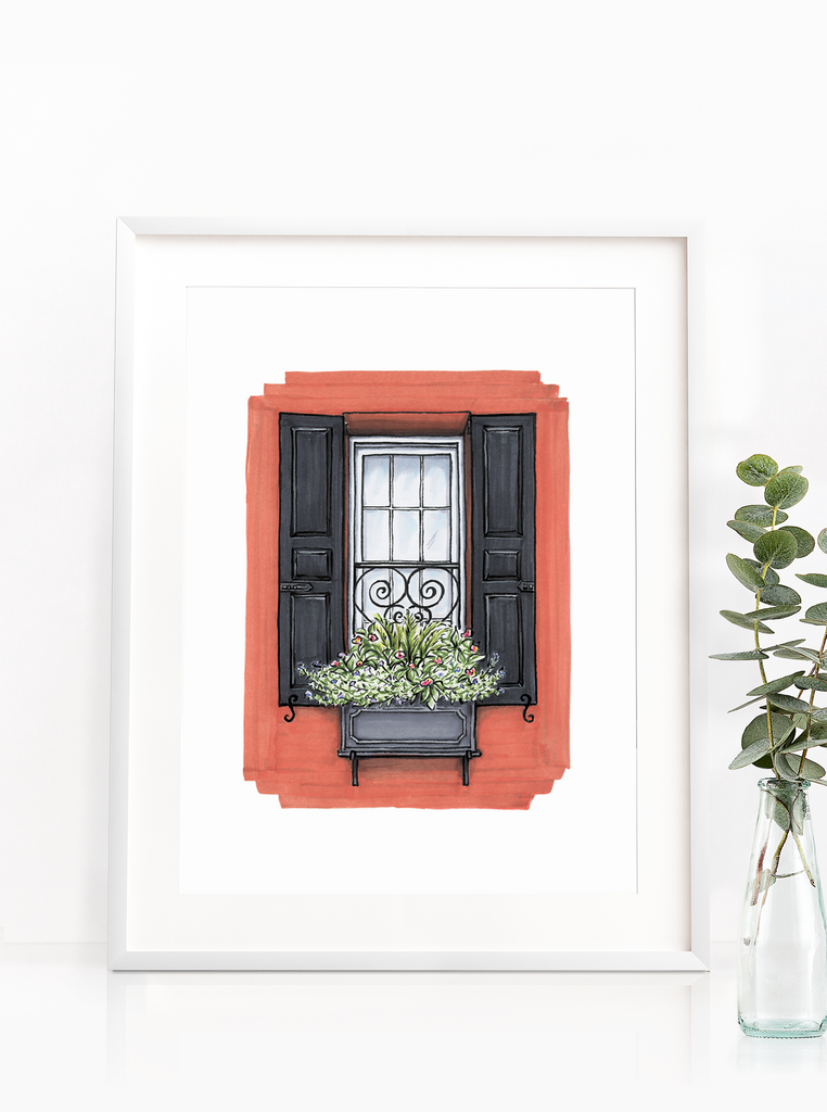 Flower Box Print of Red House with Black Shutters