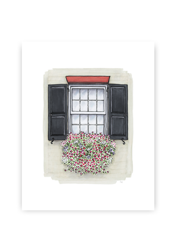 Flower Box Print of Cream House with Pink Flowers