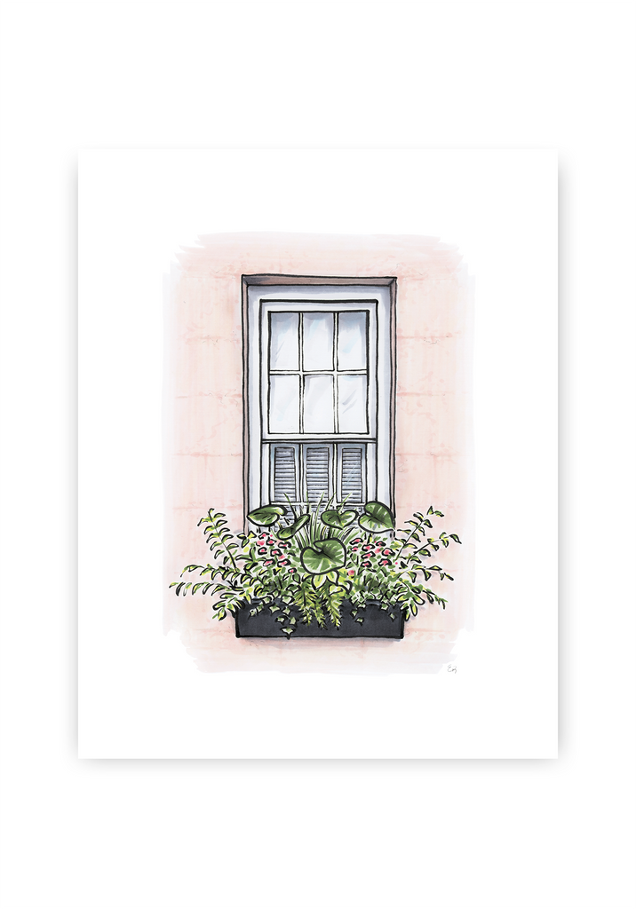 Flower Box Print of Pink House with Greenery