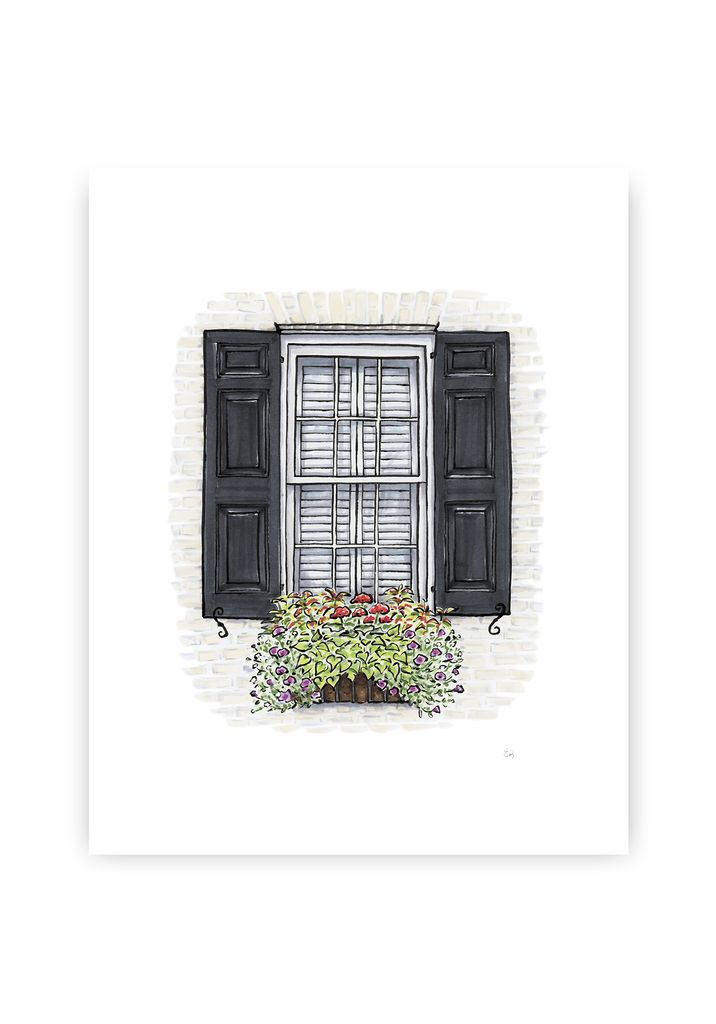 Flower Box Print of White House with Black Shutters
