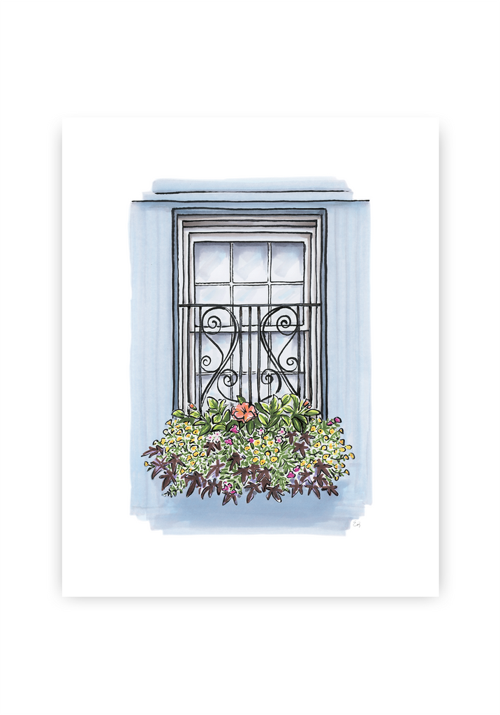 Flower Box Print of Blue House with Coastal Flowers