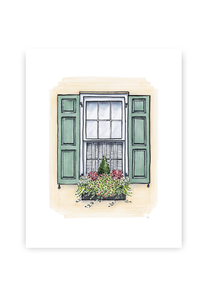 Flower Box Print of Cream House with Green Shutters
