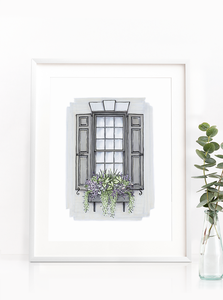 Flower Box Print of Grey House with Purple Flowers