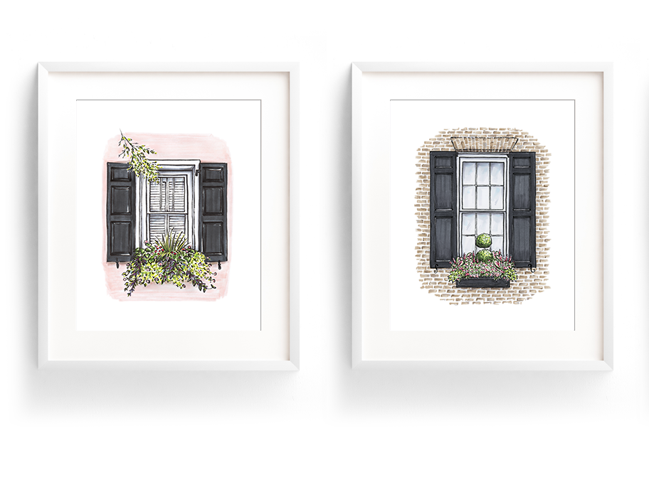 Flower Box Print of Brick House with Pink Flowers