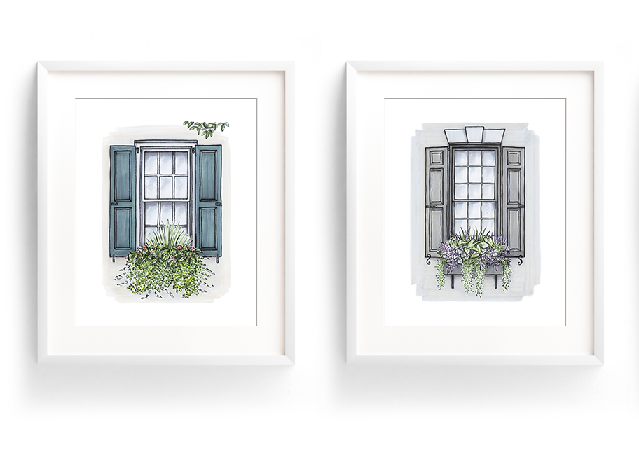 Flower Box Print of Blue Shutters with Greenery
