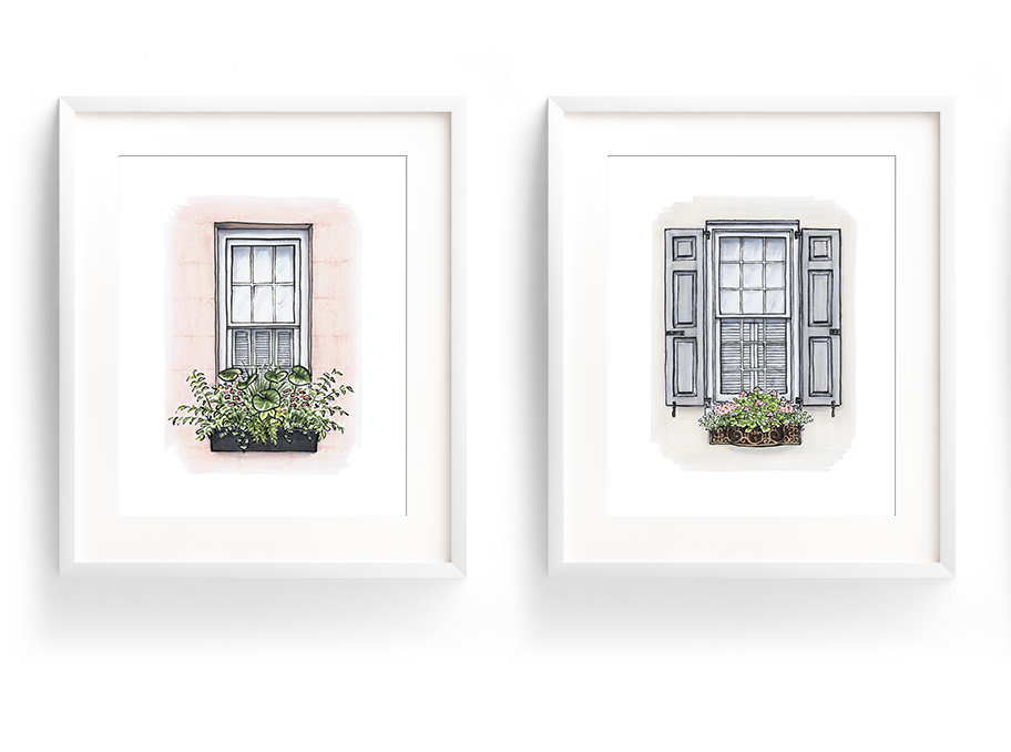 Flower Box Print of Grey Shutters with Pink Flowers