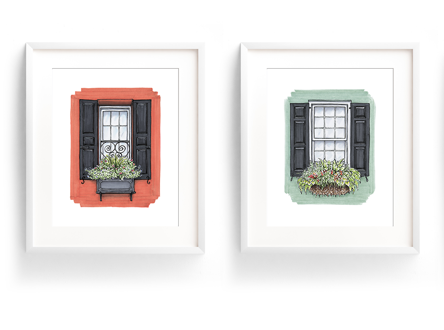 Flower Box Print of Green House with Red Flowers