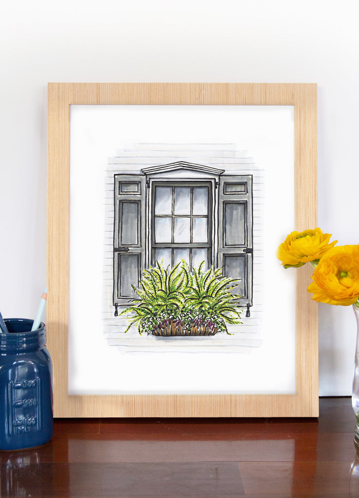 Flower Box Print of White House with Grey Shutters