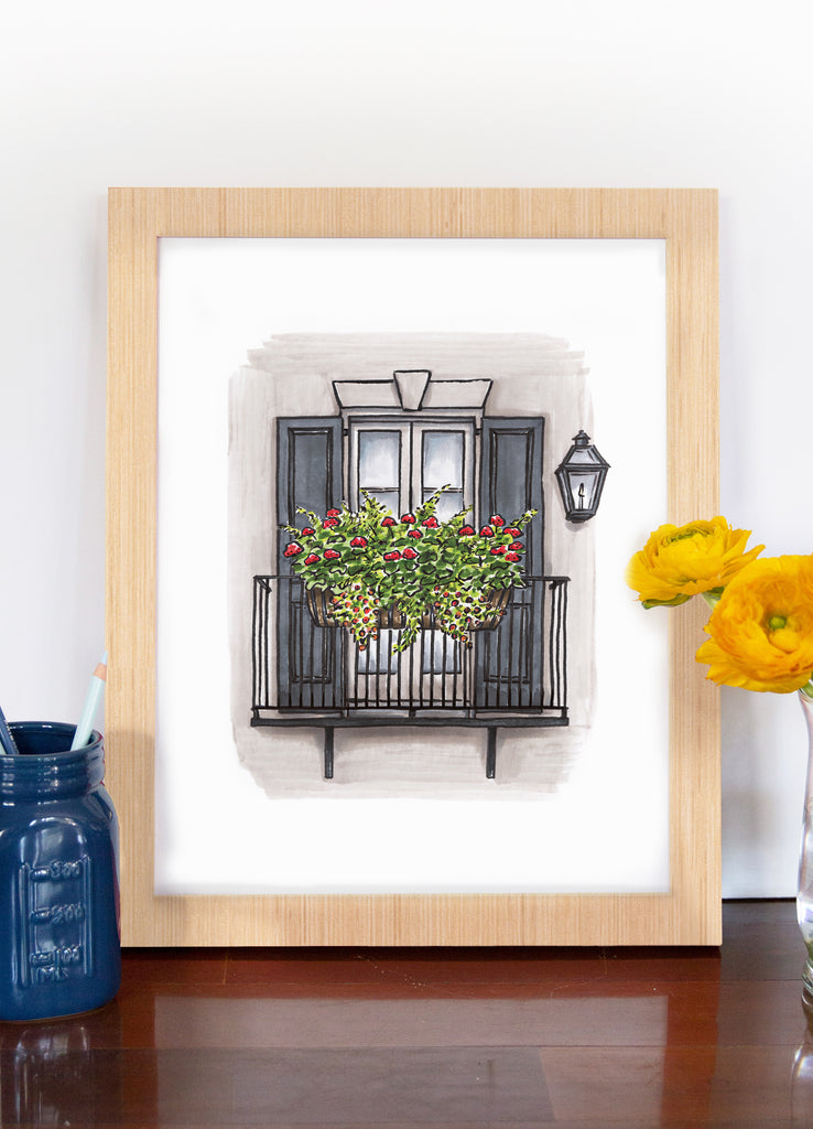 Flower Box Print of House with Balcony