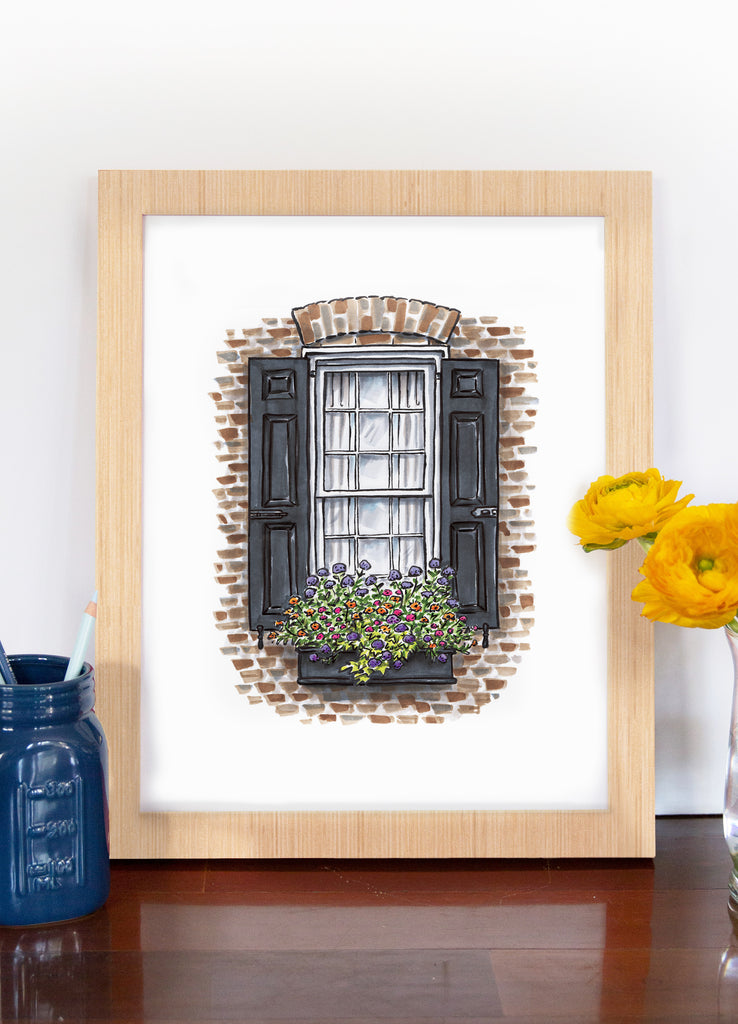 Flower Box Print of Old Brick House with Arch