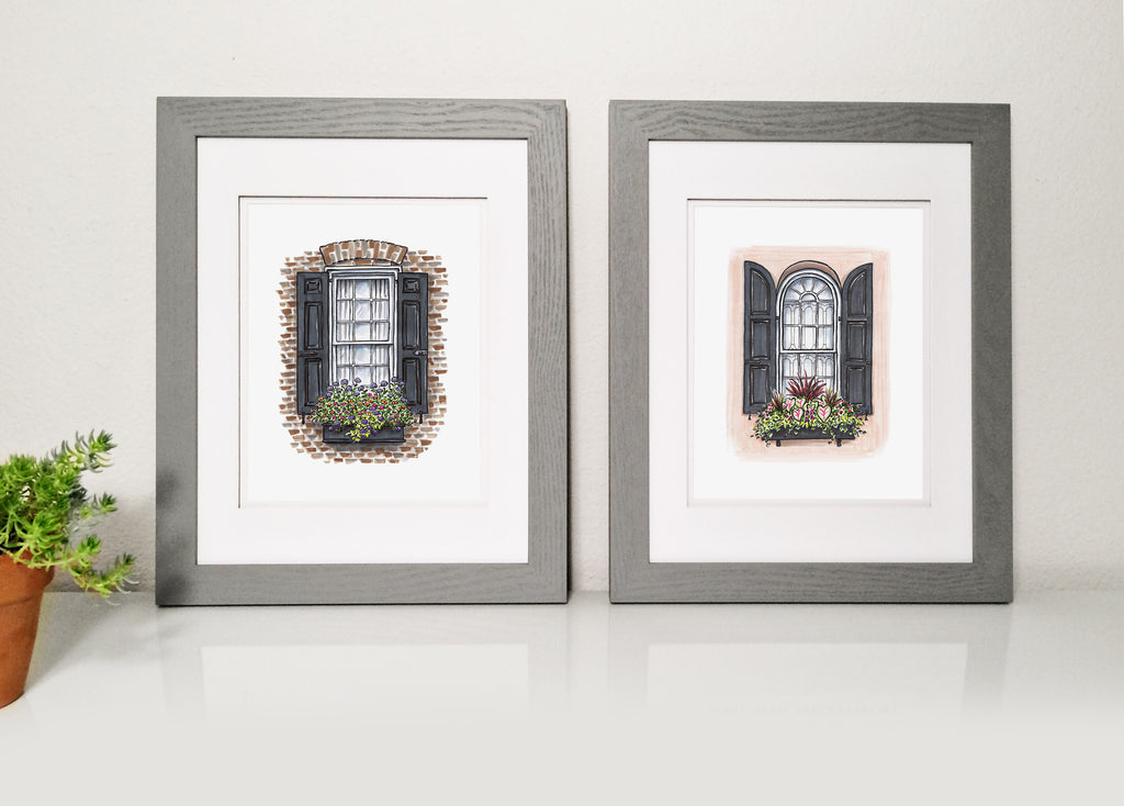 Flower Box Print of Coral House with Arched Shutters