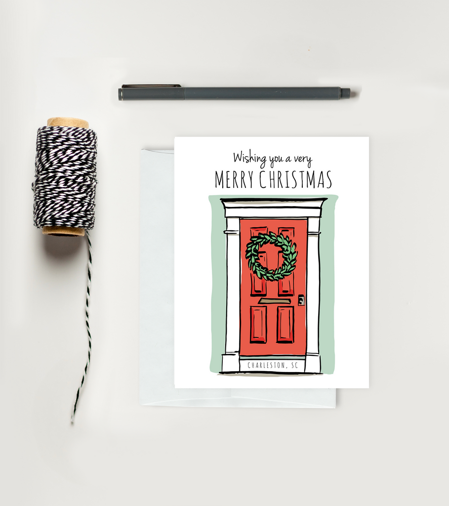 Holiday Greeting Card - Christmas - Charleston Door