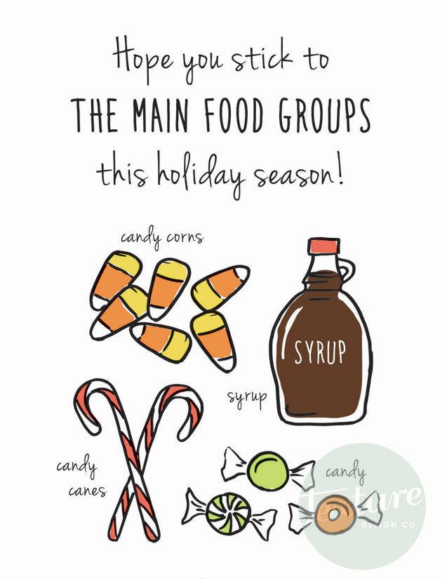 Holiday Greeting Card - Christmas - Main Food Groups