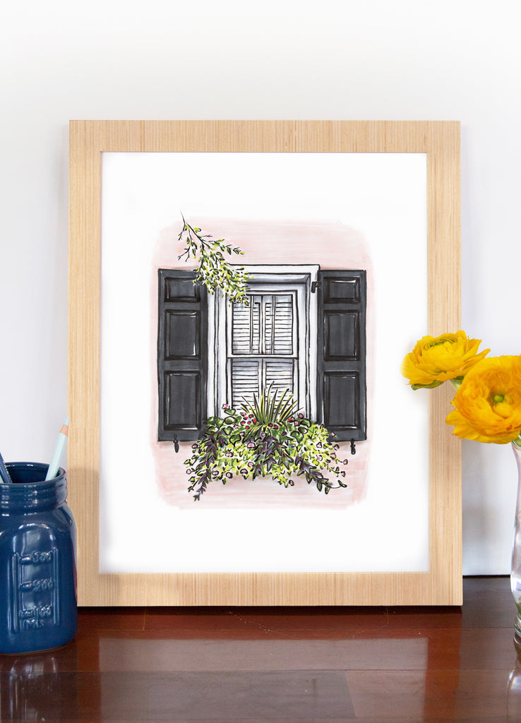 Flower Box Print of Pink House with Black Shutters