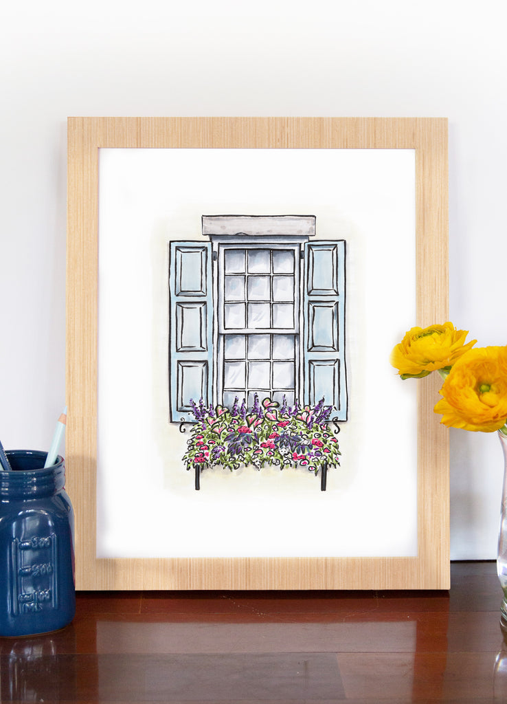 Flower Box Print of White House with Light Blue Shutters