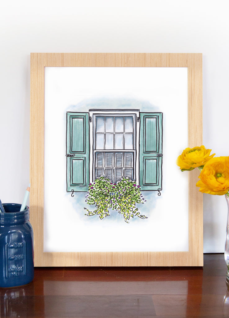 Flower Box Print of Blue House with Blue Shutters