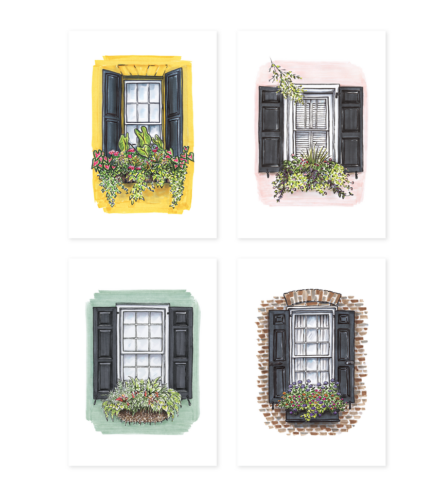 Greeting Card Set - Flower Boxes - Set of 8