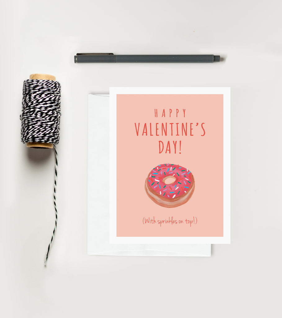 Holiday Greeting Card - Valentine's Day - Doughnuts