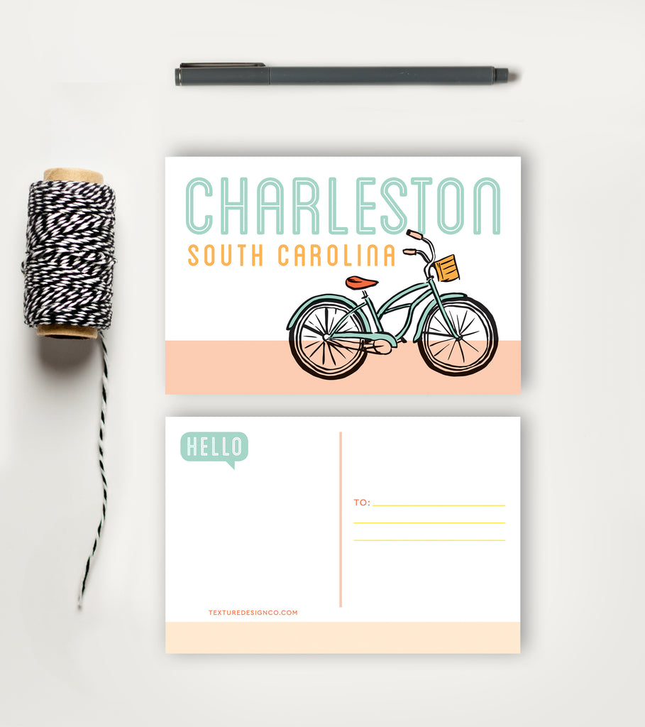 Postcard - Charleston - Bike Cruising