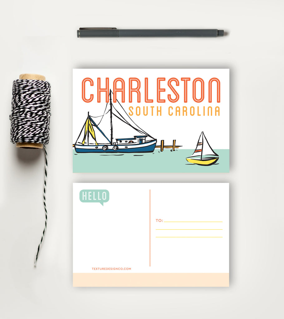 Postcard - Charleston - Boating Day