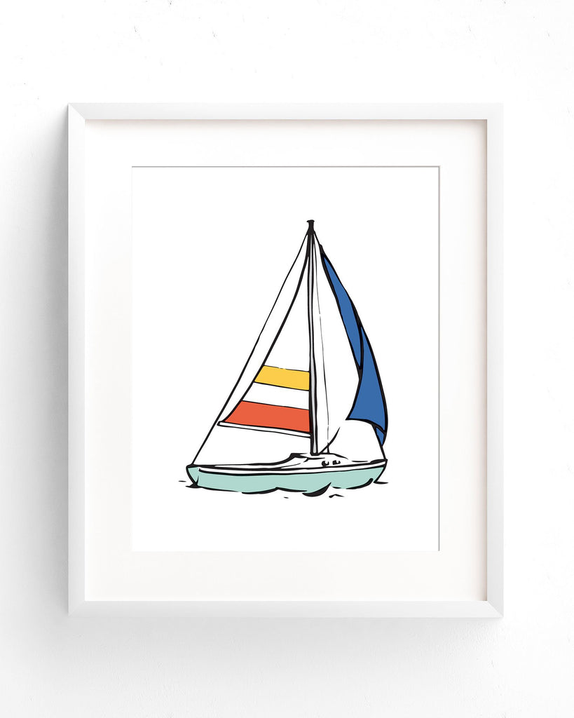 Sailboat print in Seafoam, Yellow, Coral, and Blue