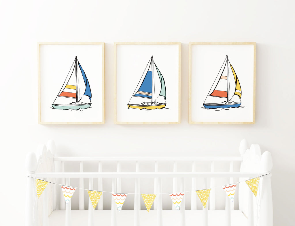 Nautical Nursery Sailboat Prints