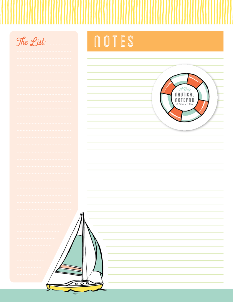 Coastal Breeze - Notepad - Sailboat