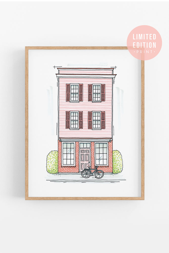 Charleston Architectural Print of Blush Pink Storefront