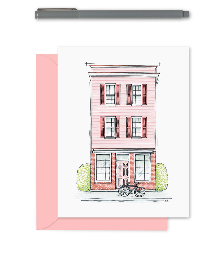 Greeting Card - Cityscape - Blush Pink Storefront