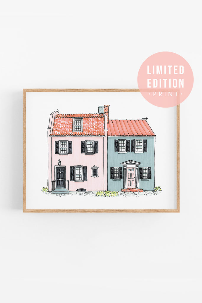 Charleston Architectural Art Print of Pink and Blue Houses