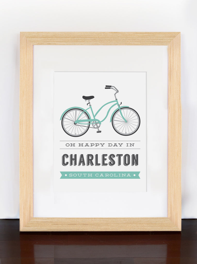 Charleston Bicycle Typographic Print