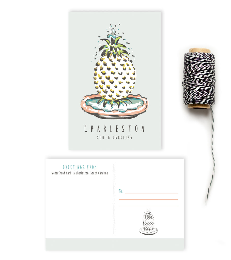 Postcard - Charleston - Pineapple Fountain