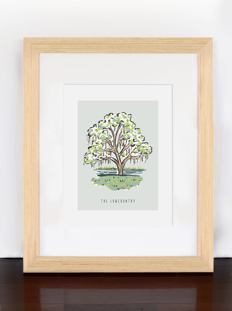 Lowcountry Oak Tree with Spanish Moss Print