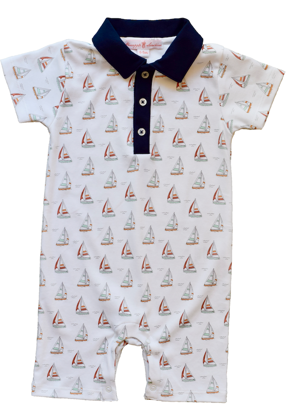 Sailboat Romper with Collar - Pineapple Sunshine™