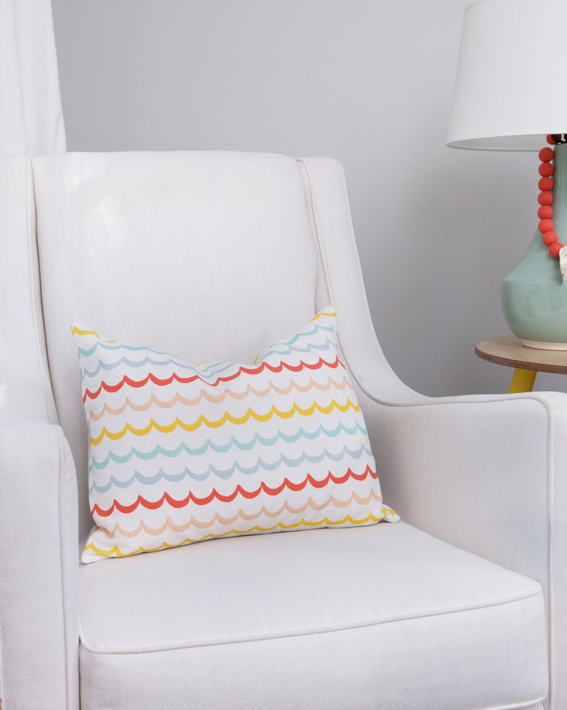 Pillow - Sea Waves on White in Lumbar