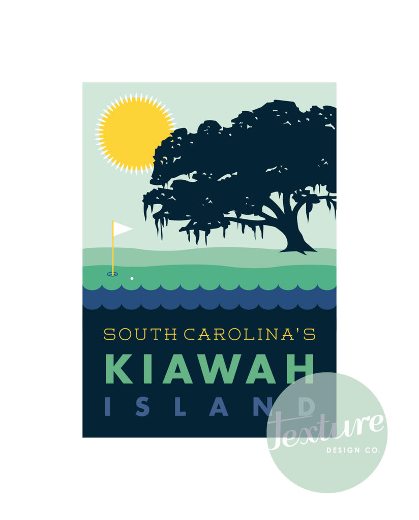 Kiawah Island Graphic Print with Oak Tree and Golf