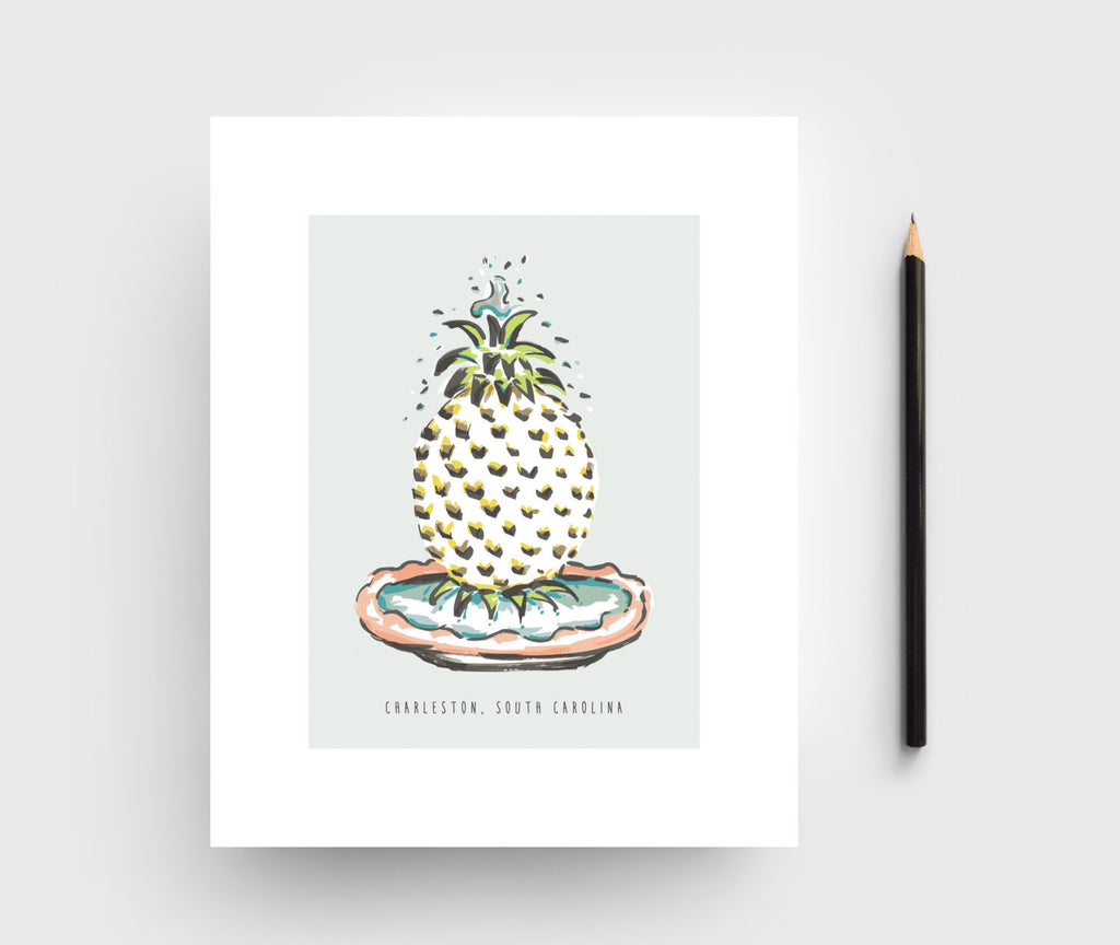 Charleston Pineapple Fountain Print