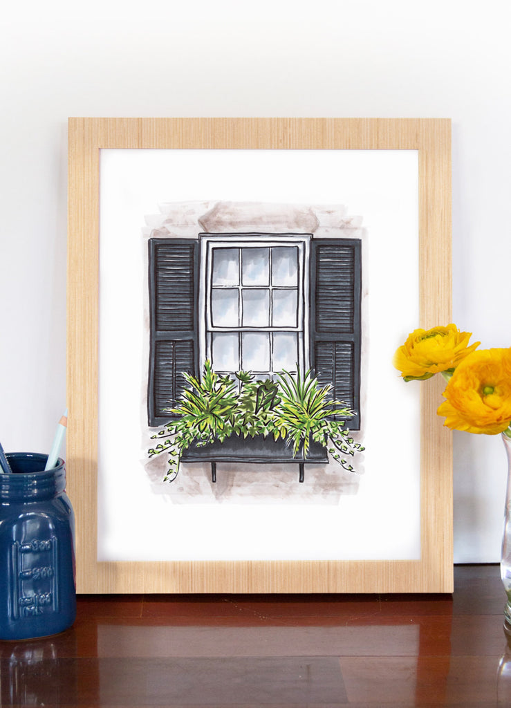 Flower Box Print of Grey House with All Greenery