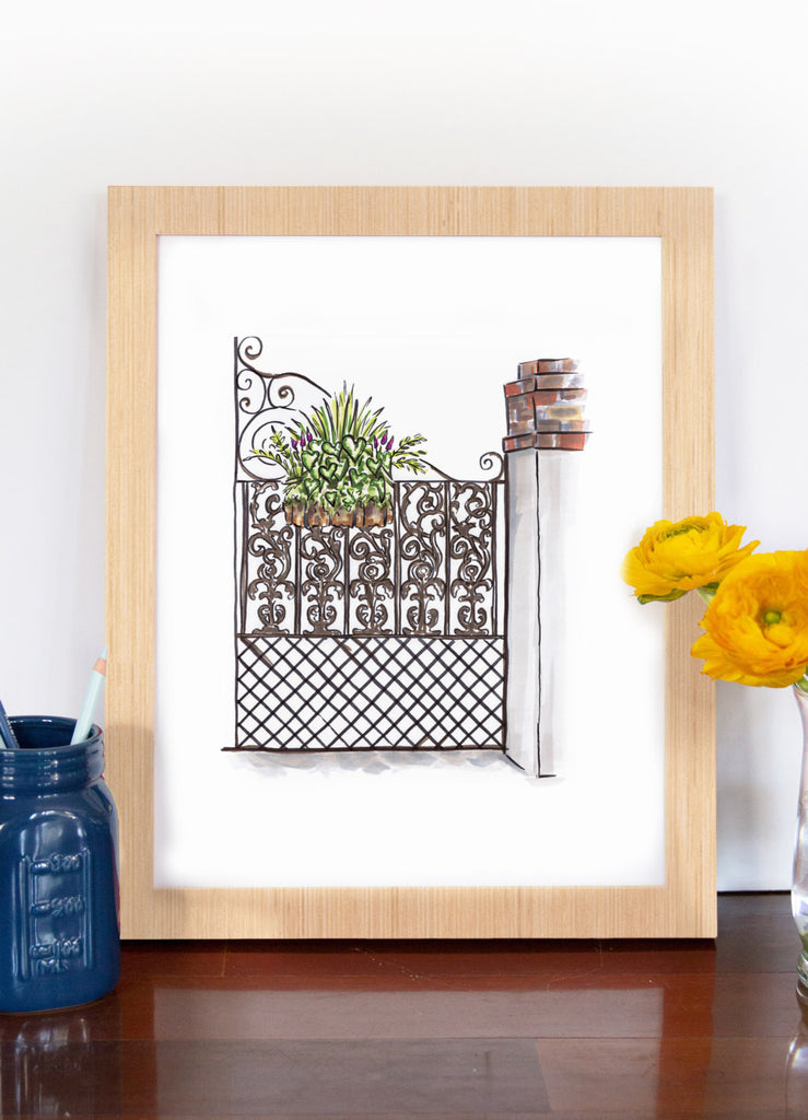 Flower Box Print of Metal Gate